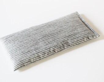 Aromatherapy Eye Pillow - Organic Lavender & Flaxseed - Grey White Striped
