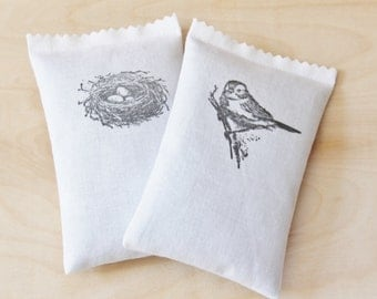 Country Style Lavender Sachets, Bird on Branch / Birds Nest Nature Decor, Drawer Freshener, Spring Shower Hostess Gift