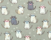 2638B -- Lovely Cats Wearing Glasses in Camouflage Green, Kawaii Cat Fabric