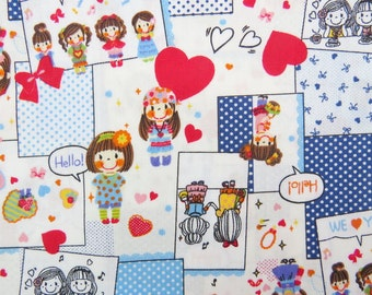 2639E -- Smile Girl Patchwork Fabric Blue/Navyin White, Flower, Heart, Tiny Dots, Girl Fabric