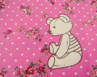 2643D -- Cute Bear Fabric with Wreath in Fuschia Color, Animal , Flower, Wreath, Tiny Dots