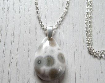 SALE - White and Blue Grey Ocean Jasper Pendant Necklace