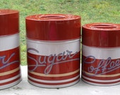 Set of 4 Vintage Red and White Metal Kitchen Canisters Made in Japan