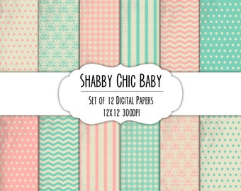 Shabby Chic Baby Digital Scrapbook Paper 12x12 Pack - Set of 12 - Polka Dots, Chevron, Gingham - Item#8270