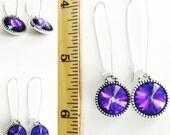 Heliotrope blue-purple Rivoli Earrings on Sterling Silver Elongated Kidney Ear Wires