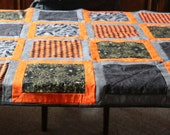 HALLOWEEN Bats Spiders Argyle Gold Black Gray Orange Cream Quilt Lap Blanket Fleece Backing Witches on Brooms