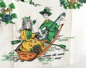 Vintage Towel LOVE Songs Lovers New Old Stock NOS