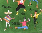 Vintage Bar Towel Alcoholic Drinks International Dancers Kreier Swiss