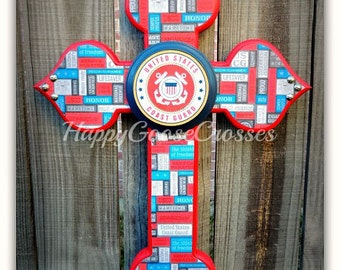 Wall Cross - Wood Cross - Military - Small - United States Coast Guard - USCG (can be made in any branch)