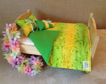 Hawaii or Island themed in green and yellow quilted doll blanket quilt for an 18 inch doll such as AG or American Girl
