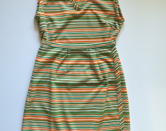 1970's green and orange striped wrap skirt and tank top size SMALL