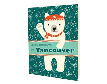 Polar Vancouver Folded Holiday Cards, Box of 10 - Vancouver Christmas Cards - Happy Holidays from Vancouver - OC1174-VC-BX