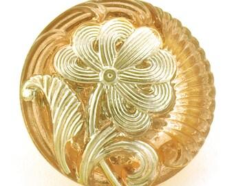 Czech Glass Flower Pattern Button 18mm Iridescent Light Coppery Peach and Silver