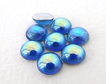Vintage Czech Glass Cabochons Sapphire Blue Aurora Borealis AB Round 9mm gcb1154 (8)