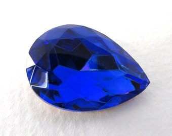 Vintage Glass Rhinestone Sapphire Pear Jewel Faceted Cobalt Foiled 25x18mm rhs0544 (1)
