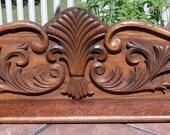 Fancy Antique Applied Oak Crest or Crown Splash Back Shelf
