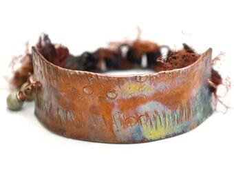 Art Jewelry Bracelet Hammered Copper Bar Chain Bracelet