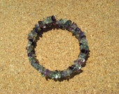 Bracelet Fluorite Rainbow Gemstone Chip Beads on Self-Coiling Wire