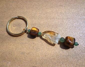 Key Ring Charm for Prosperity with Citrine, Golden Tiger Eye and Green Aventurine Gemstones