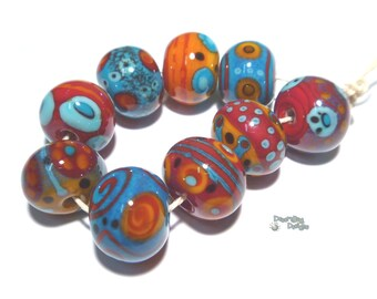SAMBA  Lampwork Beads Handmade - Red Orange Turquoise Black  - Large Bold Warm Beads
