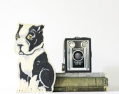 Hold the Door - Vintage Door Stop - Dog - Black and White - Bull Dog - Handmade - Home Decor - Wood