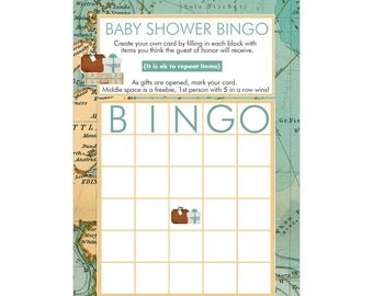 Digital Printable Baby Shower Bingo Game Travel Theme in Aqua Blue for Gender Neutral Baby Showers G092