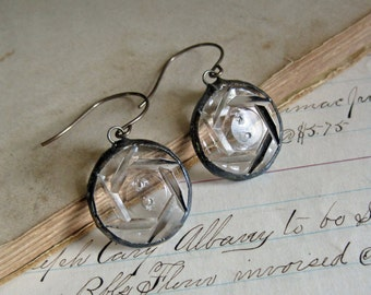 Glass Button Earrings Upcycled Jewelry