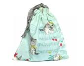 Musical Kittens Pouch Retro Drawstring Bag Kitty Cat Tote Bag for Girls Teens Women