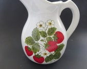 Vintage McCoy Strawberry Pitcher -  Large 64 Oz Ceramic Pitcher in Strawberry Country by Mccoy - Strawberry Blossom Pitcher or Vase