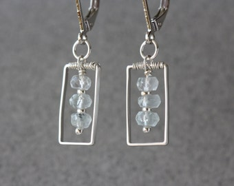 Silver Rectangles with Aquamarine stones Geometrical, Fashion Earrings, Minimal Jewelry, Simple Geometry, Contemporary Jewelry, Small Gifts
