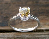 Yellow Sapphire Engagement Ring in 14K White Gold in Basket with Scroll Setting Size 8