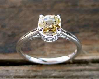 Yellow Sapphire Engagement Ring in 14K White Gold in Basket with Scroll Setting Size 7