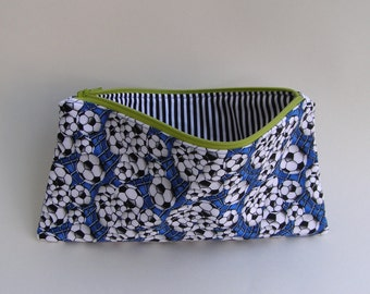 Soccer zippered bag -  school supplies - pencil case - artist's bag - office supplies - pencil case for kids - sports theme bag
