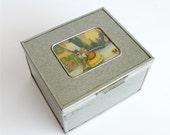 Vintage Cigar Jewelry Box Christmas Theme Depression Era