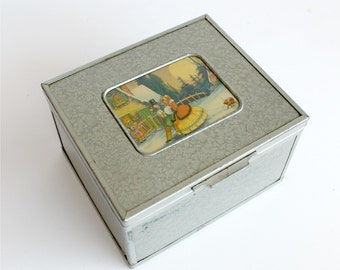 Vintage Cigar Jewelry Box Christmas Theme Depression Era