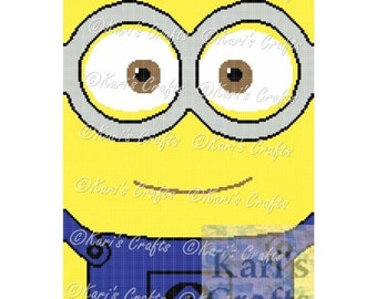 Minion Close-Up Afghan PDF Pattern Graph + Written Instructions - Instant Download