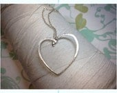 HALF PRICE - Forged Sterling - Heart necklace / sterling silver heart / hammered heart / heart pendant / hammered jewelry / silver heart