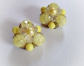 Vintage Sunshine Drops Plastic Yellow Bead Earrings Clip On
