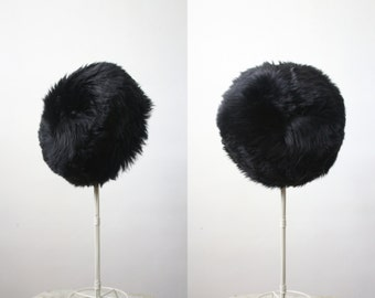 1950s black fur winter hat