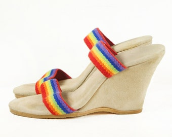 70's Rainbow Strappy Suede Platform Wedges Beach Vintage Sandals Size 6 B
