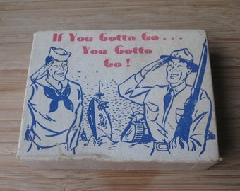 "Vintage War ""If You Gotta Go... You Gotta Go"" Postcard Joke Box"