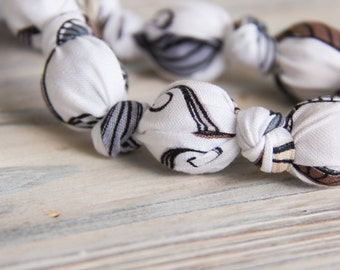 Mustache organic cotton nursing / babywearing necklace - wooden beads and organic cotton - Free Shipping