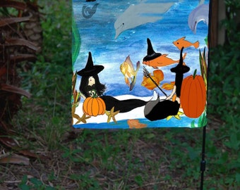 Mermaid witch beach party under the sea Garden Flag from art