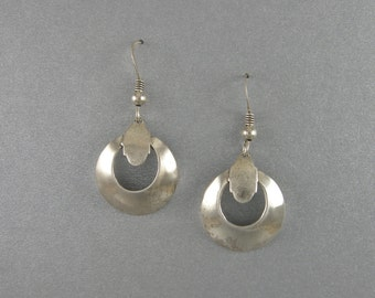 EARRINGS STERLING SILVER 1 3/8 in.long, 3/4 in Wide Doomed Disk. Brush High Shine Polish Finish Sterling Silver French Ear Wires