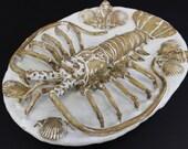 Pallisy Style Ceramic Spiny Lobster Platter by Shayne Greco. Beautiful mediterranean glazed pottery.