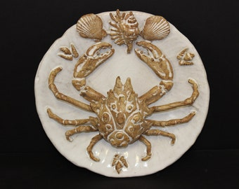 Pallisy Style Ceramic Spider Crab Platter by Shayne Greco. Beautiful mediterranean glazed pottery.