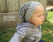 beanie pattern \ infant beanie \ slouchy knit beanie pattern \ PDF beanie pattern no. 002