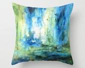 Throw Pillow Spring Rain Abstract Printed Art Blue Green White (3 sizes)