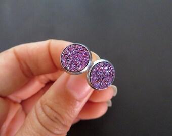 Purple Pink Faux Druzy Stud Post Earrings Glitter Stone Glittery Rock Ear Jewelry Geode Crystal Cluster Drusy