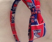New York Rangers Hockey Fabric Covered Headband with Attached Bow - Stand Out In The Crowd